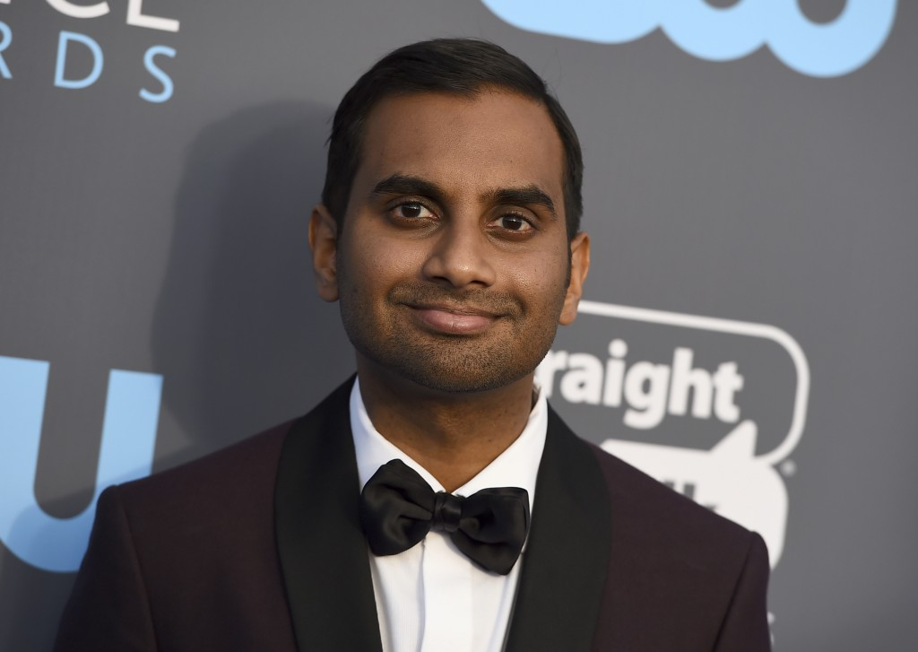 FILE - In this Jan. 11, 2018 file photo, Aziz Ansari arrives at the 23rd annual Critics' Choice Awards at the Barker Hangar in Santa Monica, Calif.  A...