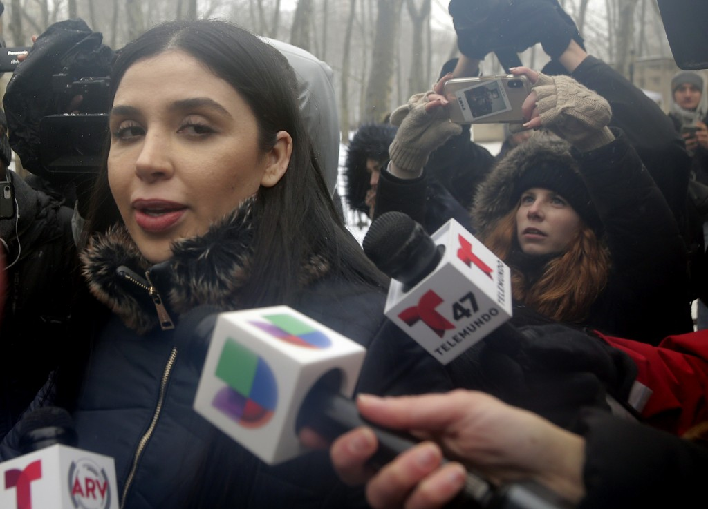 """Emma Coronel Aispuro, wife of Joaquin """"El Chapo"""" Guzman, leaves federal court in New York, Tuesday, Feb. 12, 2019. On Tuesday, Mexico's most notorious"""