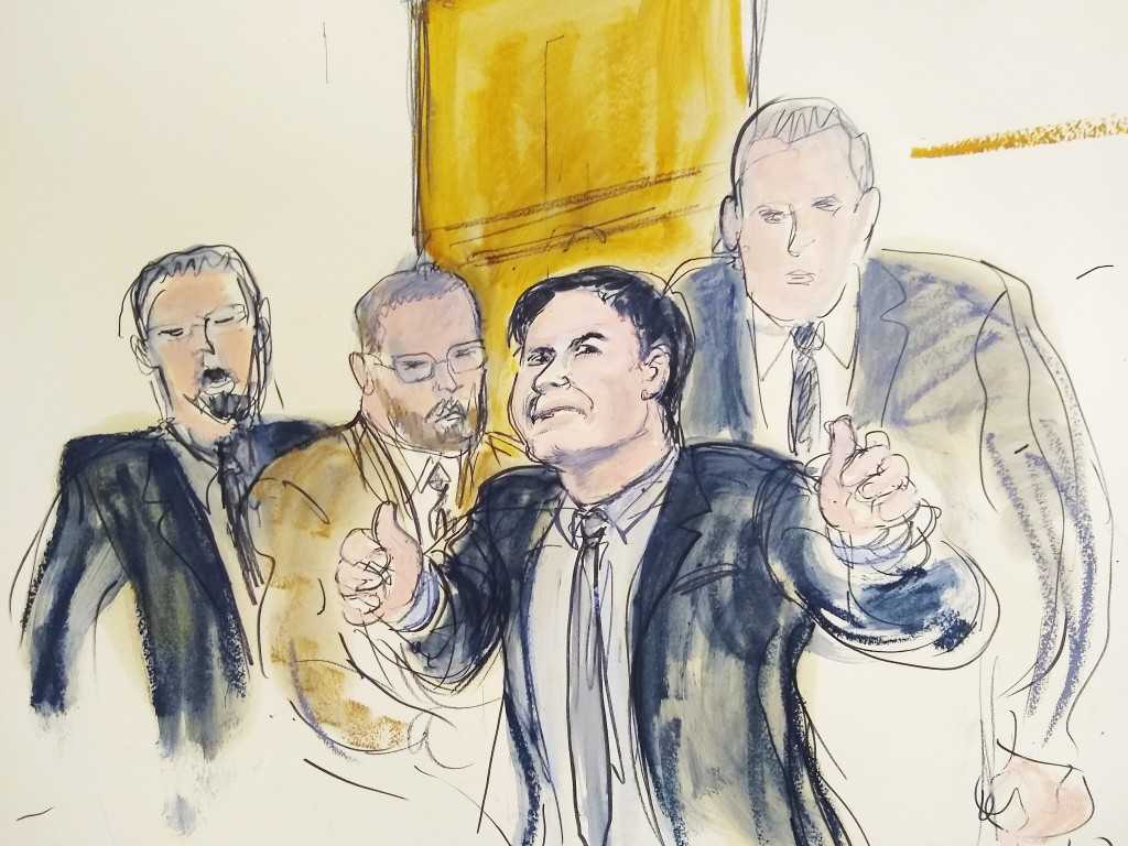"In this courtroom drawing, Joaquin ""El Chapo"" Guzman, second from right, accompanied by US Marshalls, gestures a ""thumbs up"" to his wife, Emma Coronel"