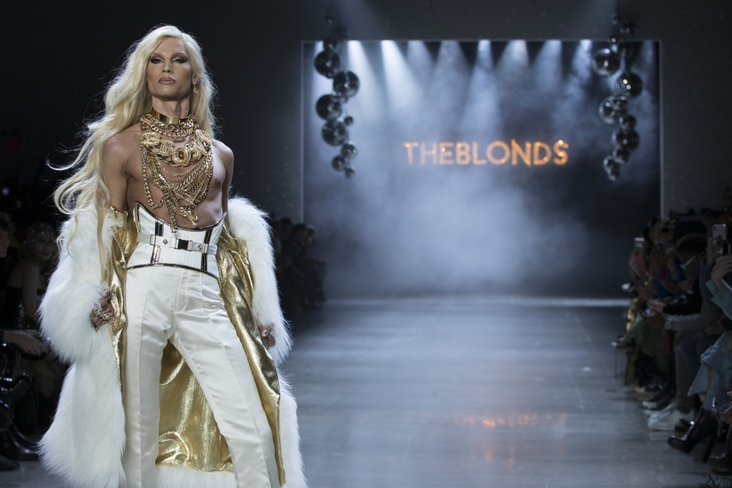 Designer Phillipe Blond walks the runway during The Blonds collection presentation during New York Fashion Week, Tuesday, Feb. 12, 2019. (AP Photo/Mar...