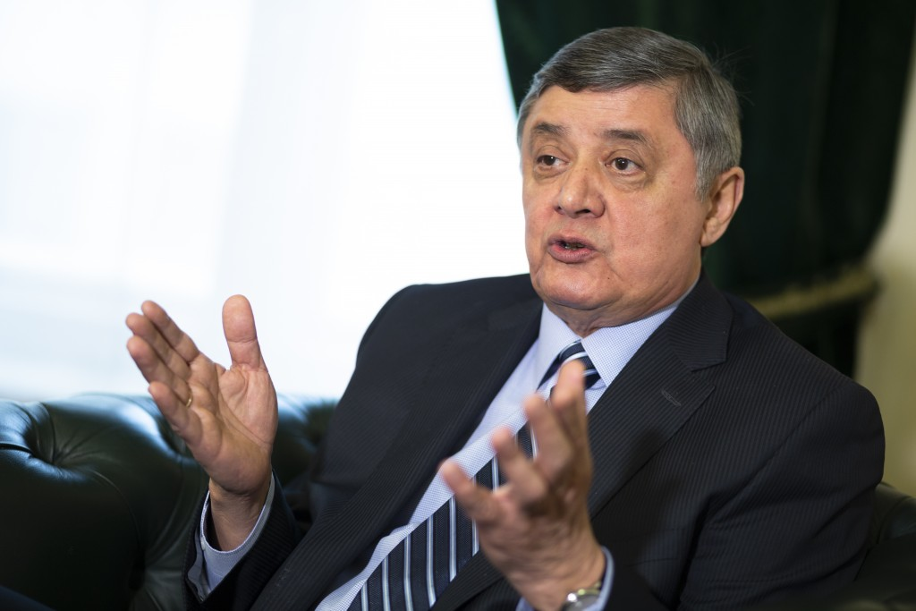 Russian presidential envoy to Afghanistan Zamir Kabulov gestures while speaking during an interview to the Associated Press in Moscow, Russia, Wednesd...