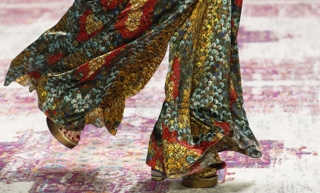 The latest fashion from Naeem Khan is modeled during New York Fashion Week, Tuesday, Feb. 12, 2019, in New York. (AP Photo/Kathy Willens)