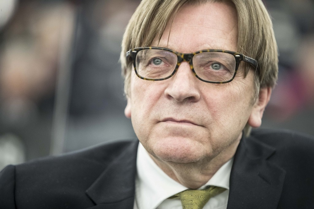 European Parliament Brexit chief Guy Verhofstadt reacts attend a debate on the future Europe at the European Parliament in Strasbourg, eastern France,...