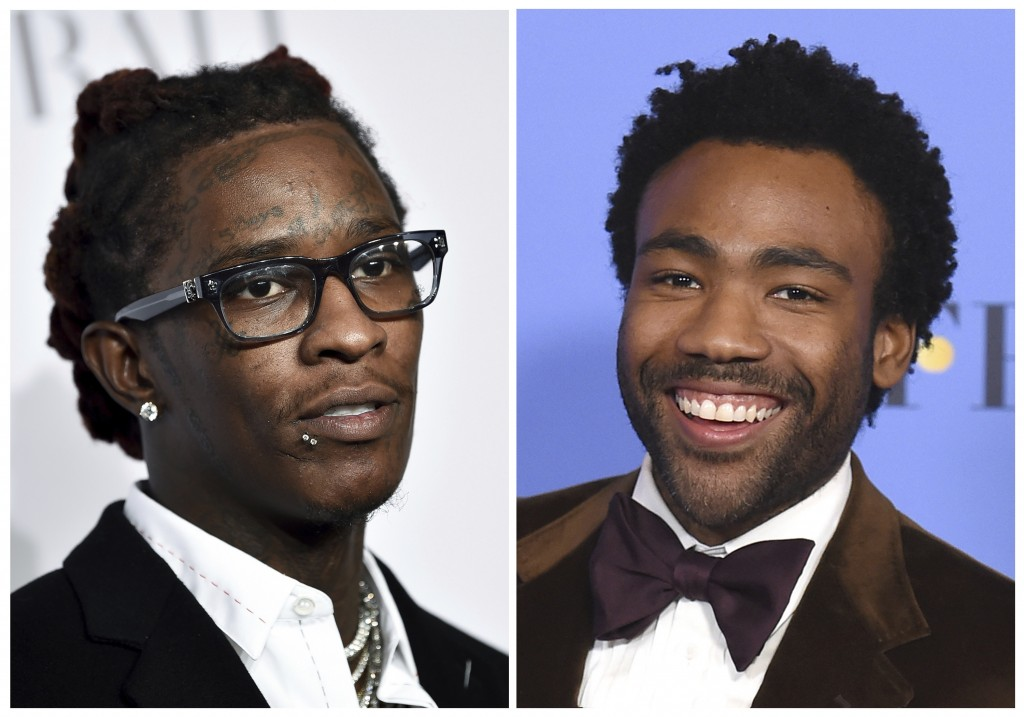 This combination photo shows Young Thug, born Jeffery Lamar Williams, at the 3rd Annual Diamond Ball in New York on Sept. 14, 2017, left, and Donald G...