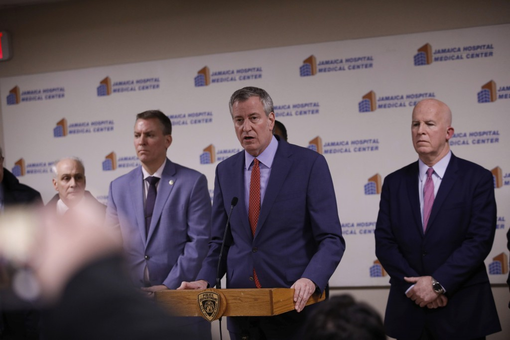 New York Mayor Bill de Blasio speaks during a press conference at Jamaica Hospital Medical Center Tuesday, Feb. 12, 2019, in the Queens borough of New