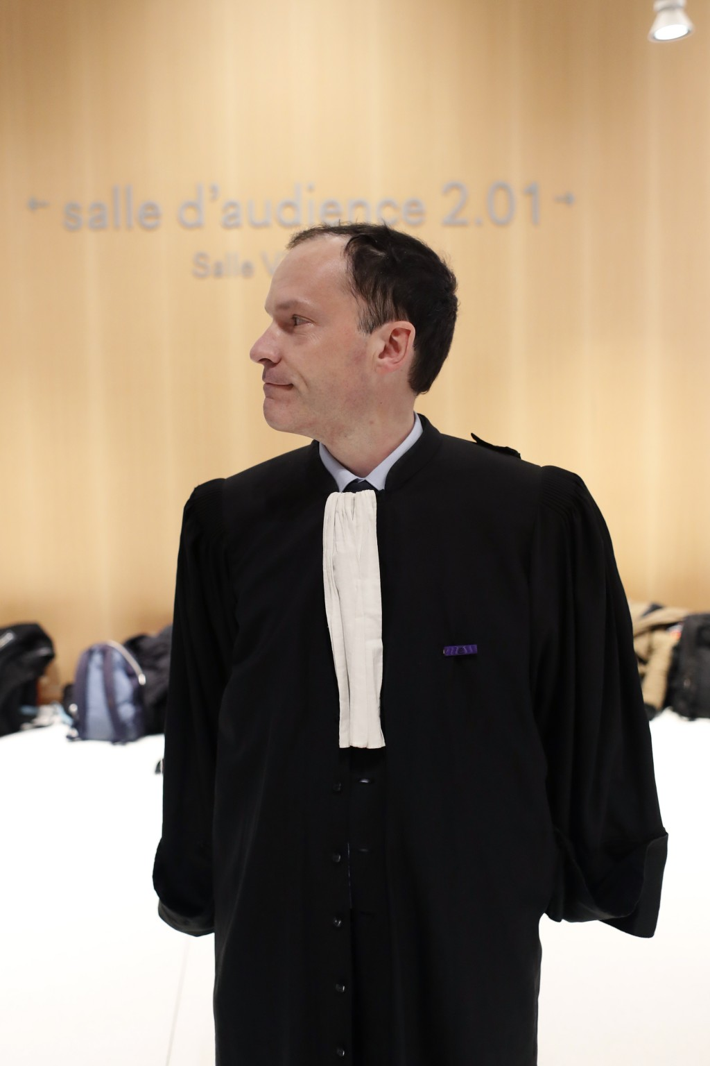 Plaintiffs' lawyer Jean-Philippe Morel arrives at the Paris' courthouse, ahead of the opening hearing of Christophe Dettinger's trial, in Paris, Wedne