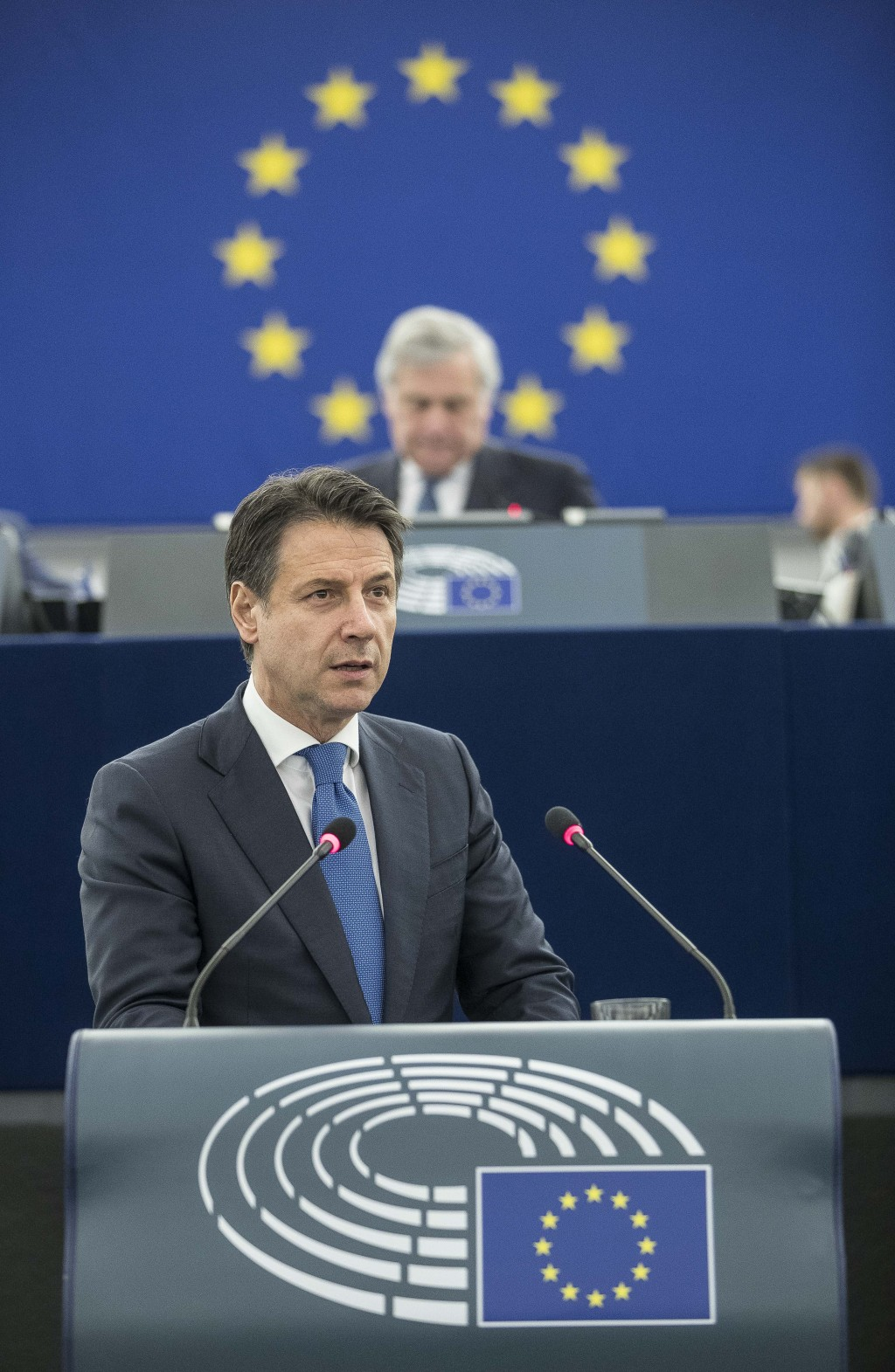 Italian Prime Minister Giuseppe Conte speaks during a debate on the future Europe at the European Parliament in Strasbourg, eastern France, Tuesday Fe...