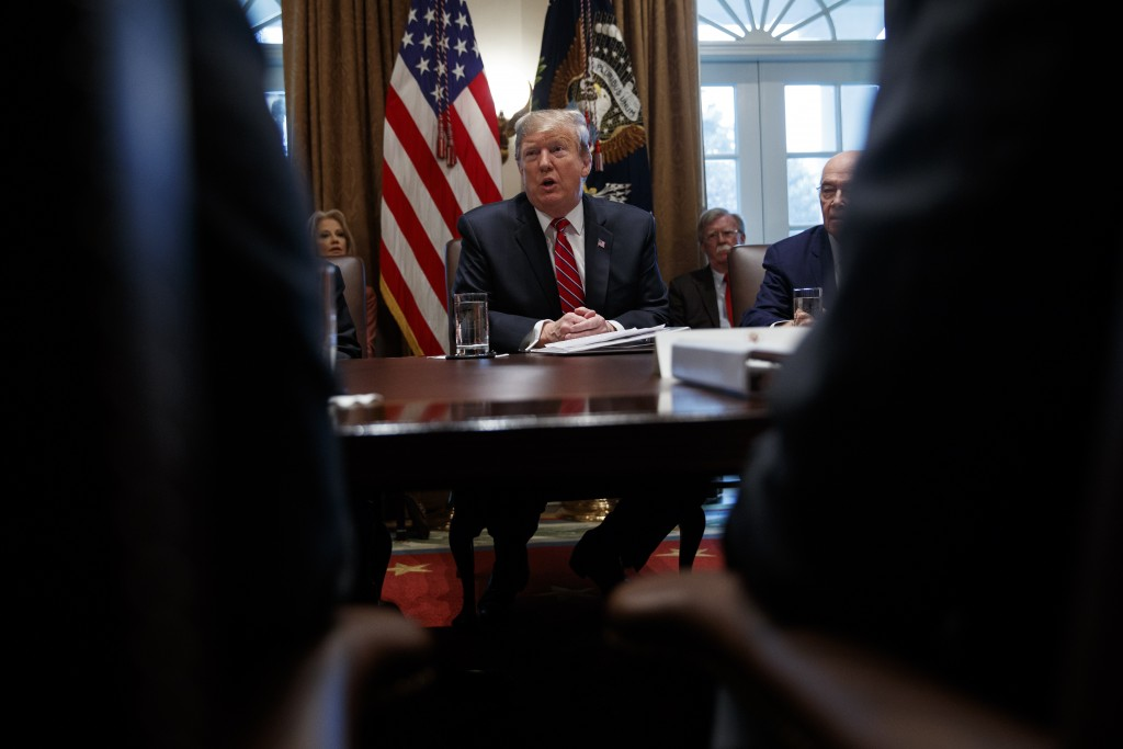 President Donald Trump speaks during a cabinet meeting at the White House, Tuesday, Feb. 12, 2019, in Washington. (AP Photo/ Evan Vucci)