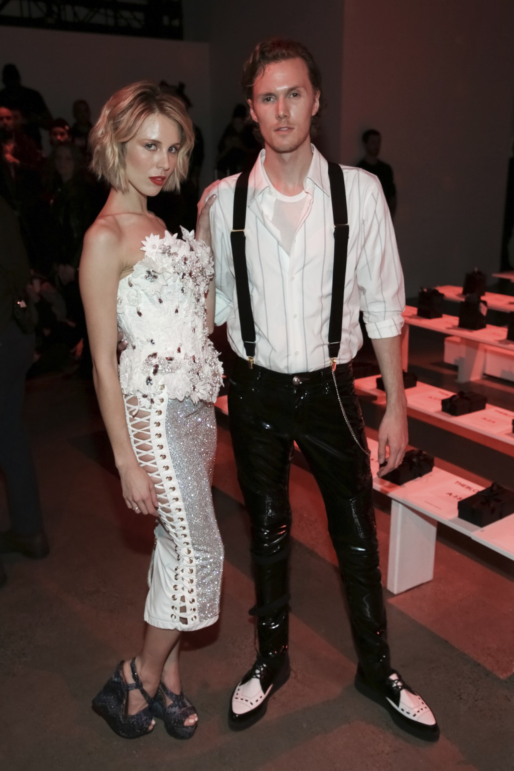 Tessa Hilton, left, and Barron Hilton II attend The Blonds Runway Show held at Spring Studios during New York Fashion Week on Tuesday, Feb. 12, 2019 i