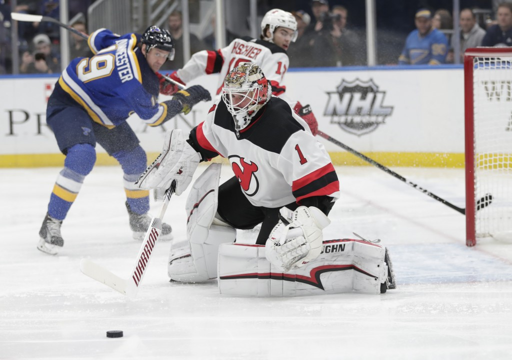 New Jersey Devils goaltender Keith Kinkaid (1) makes a save in the second period of an NHL hockey game against the St. Louis Blues, Tuesday, Feb. 12, ...