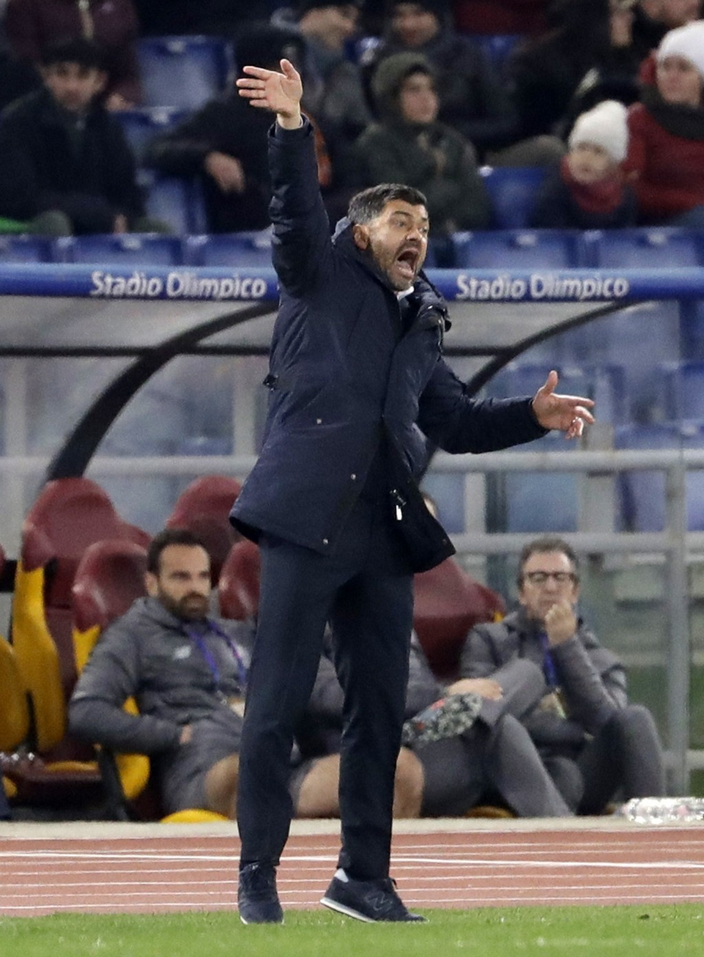 Porto coach Sergio Conceicao gives instructions to his players during a Champions League round of 16 first leg soccer match between Roma and Porto, at...