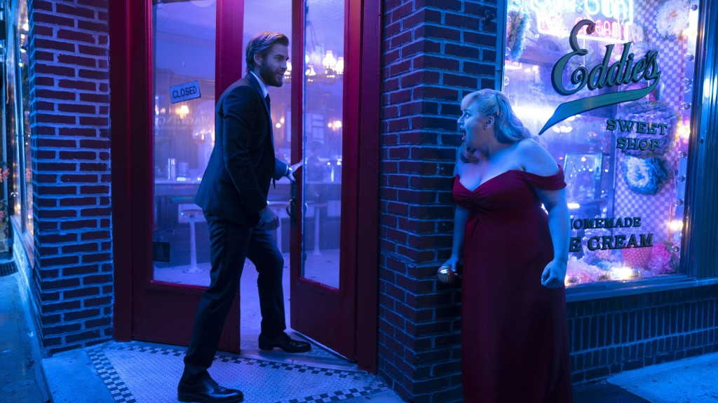"This image released by Warner Bros. Pictures shows Rebel Wilson, right, and Liam Hemsworth in a scene from ""Isn't It Romantic."" (Warner Bros. Pictures"
