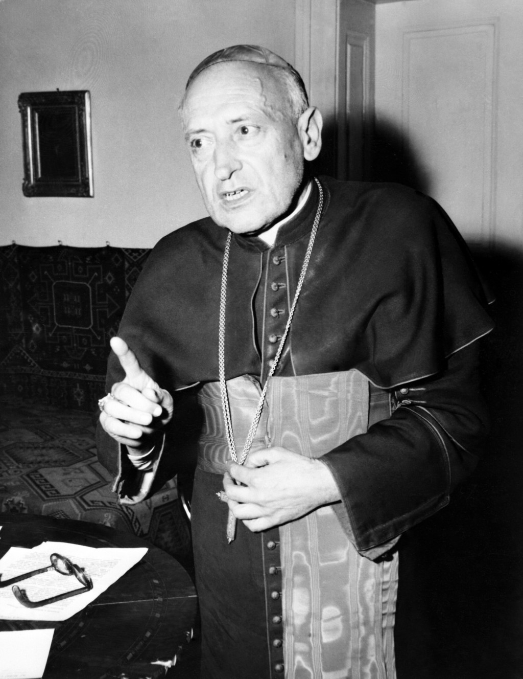 FILE - This Oct. 31, 1956 black and white file photo shows Hungarian Cardinal Jozsef Mindszenty, freed after more than seven years in a communist jail