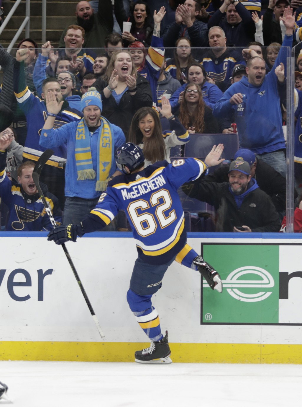 St. Louis Blues' Mackenzie MacEachern (62) celebrates scoring a goal in the second period of an NHL hockey game against the New Jersey Devils, Tuesday
