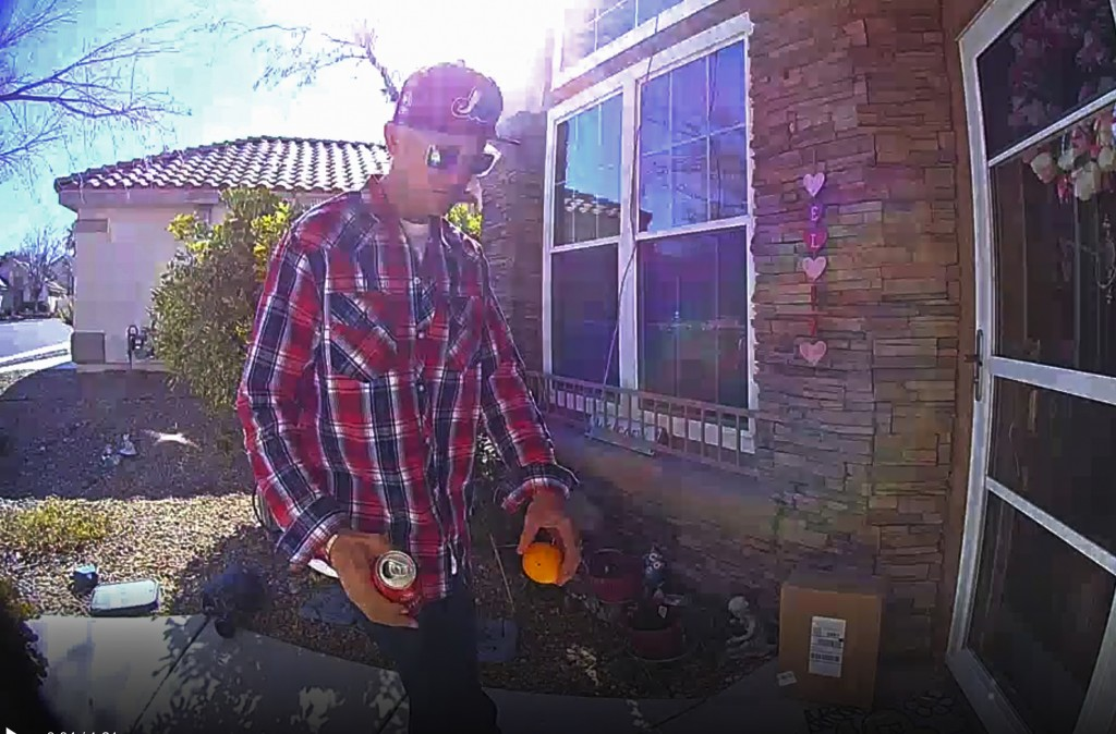 This photo released Tuesday, Feb. 12, 2019, by the Las Vegas Metropolitan Police Department shows a package thief who made off Thursday, Feb. 7, with ...