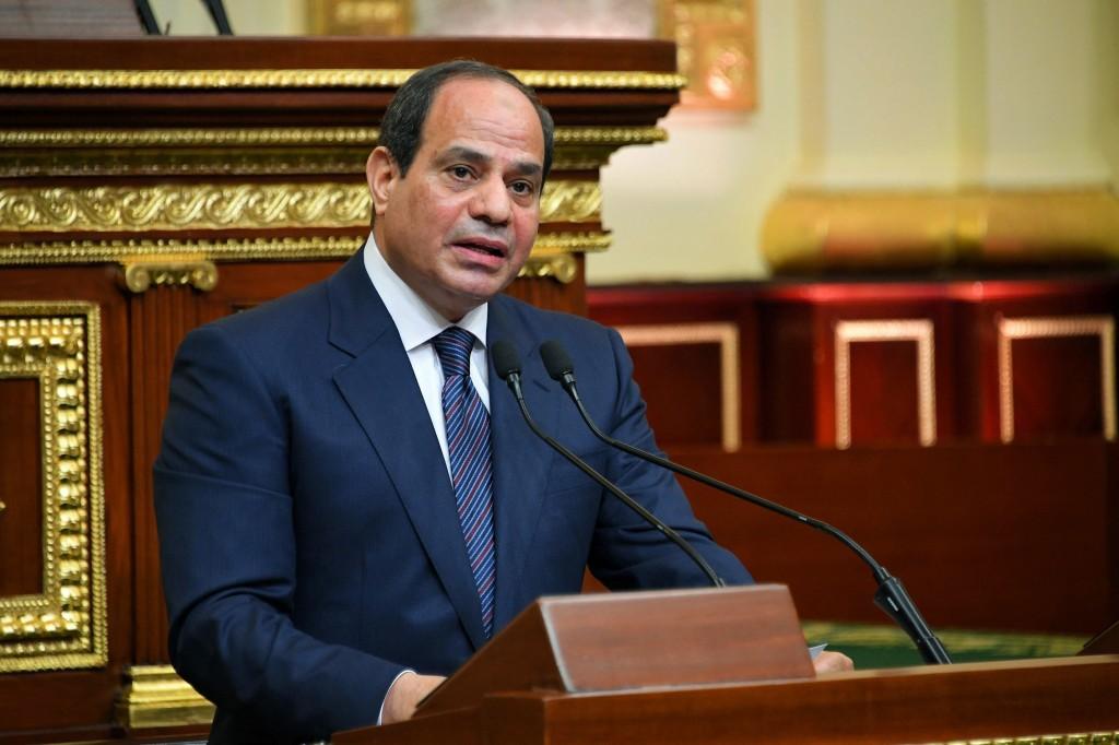 FILE - In this June 2, 2018 file photo provided by Egypt's presidency media office, Egyptian President Abdel-Fattah el-Sissi addresses the chamber aft...