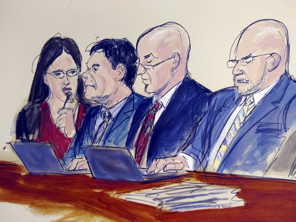 "In this courtroom drawing, defendant Joaquin ""El Chapo"" Guzman, second from left, listens to the judge while staring at the jury as the verdict is rea"