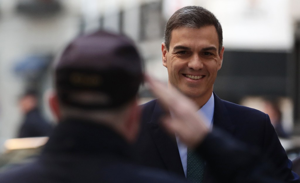 Spain's Prime Minister Pedro Sanchez arrives at the Spanish parliament in Madrid, Wednesday, Feb. 13, 2019. Spain's minority socialist government coul...