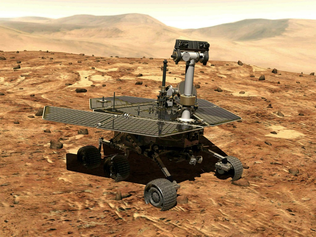 FILE - This illustration made available by NASA shows the rover Opportunity on the surface of Mars. The exploratory vehicle landed on Jan. 24, 2004, a...