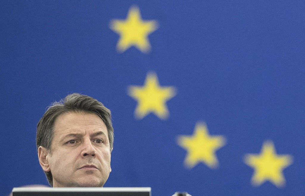 Italian Prime Minister Giuseppe Conte attend a debate on the future Europe at the European Parliament in Strasbourg, eastern France, Tuesday Feb. 12, ...