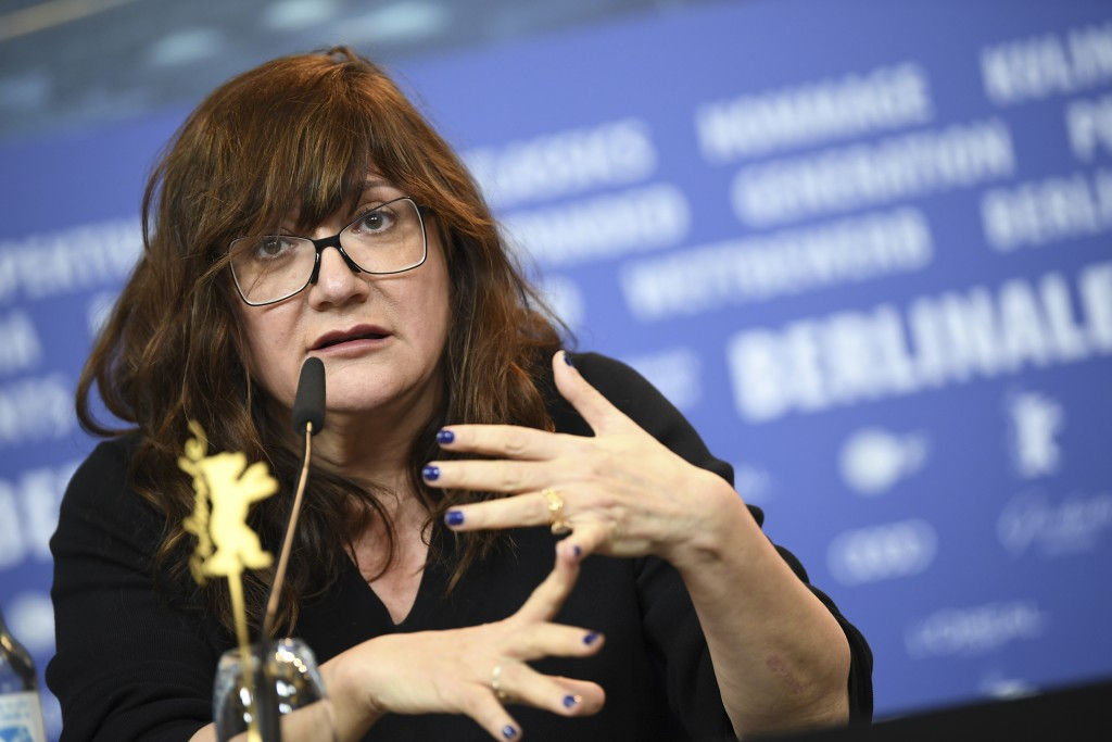 Director Isabel Coixet attends a news conference about the film 'Elisa und Marcela' at the 2019 Berlinale Film Festival in Berlin, Germany, Wednesday,...