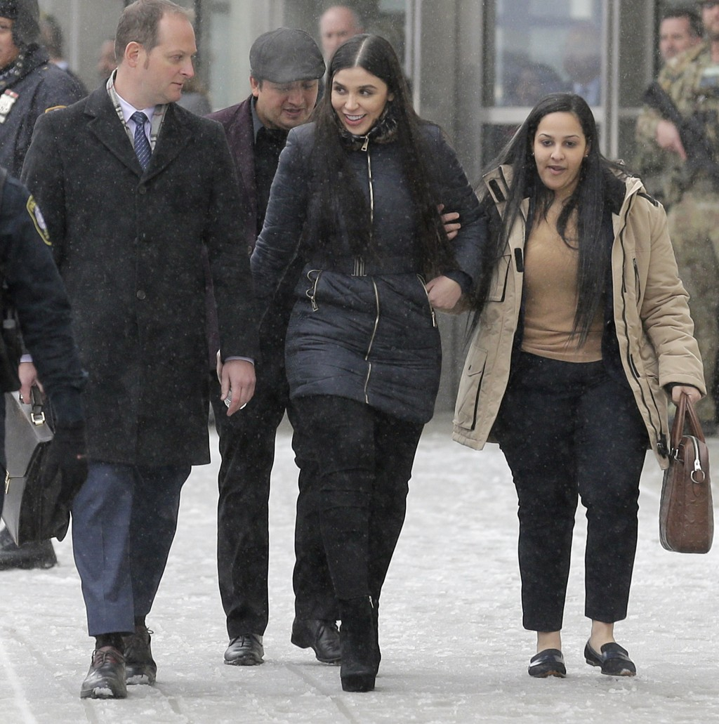 "Emma Coronel Aispuro, center, wife of Joaquin ""El Chapo"" Guzman, leaves federal court in New York, Tuesday, Feb. 12, 2019. On Tuesday, Mexico's most n"