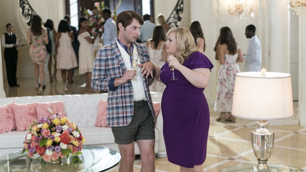"This image released by Warner Bros. Pictures shows Brandon Scott Jones, left, and Rebel Wilson in a scene from ""Isn't It Romantic."" (Warner Bros. Pict"