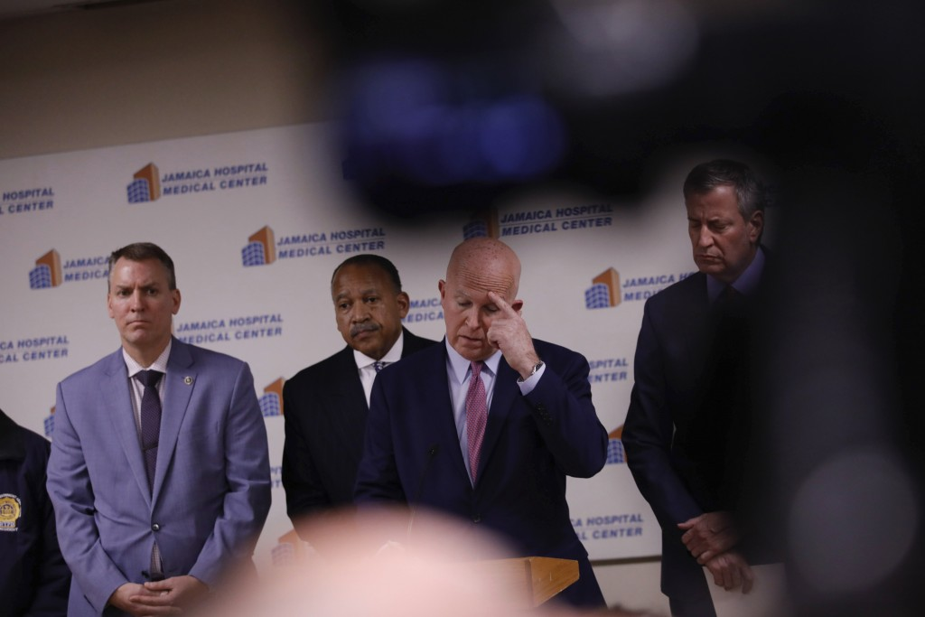 Commissioner James O'Neill speaks during a press conference at Jamaica Hospital Medical Center Tuesday, Feb. 12, 2019, in the Queens borough of New Yo