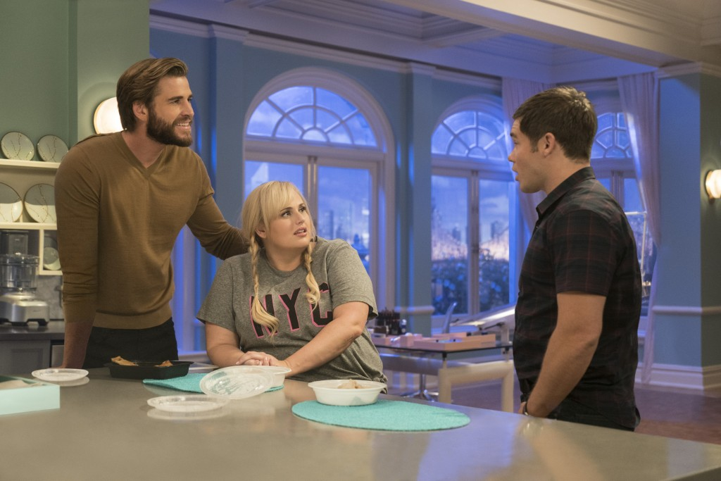 "This image released by Warner Bros. Pictures shows Liam Hemsworth, from left, Rebel Wilson and Adam Devine in a scene from ""Isn't It Romantic."" (Micha"