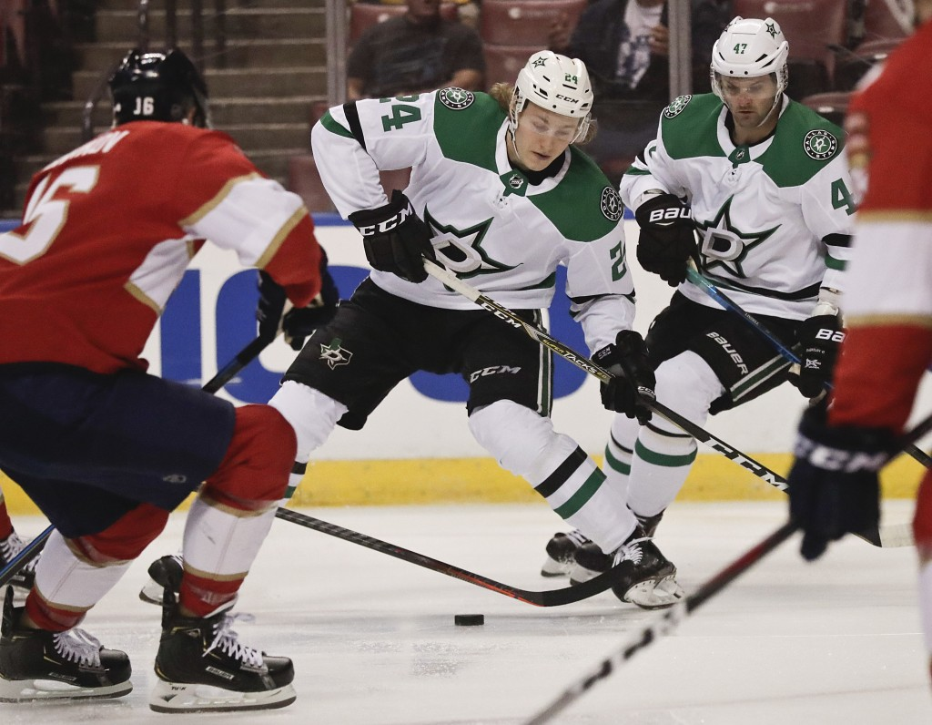 Dallas Stars left wing Roope Hintz (24) skates to the puck during the first period of an NHL hockey game against the Florida Panthers, Tuesday, Feb. 1