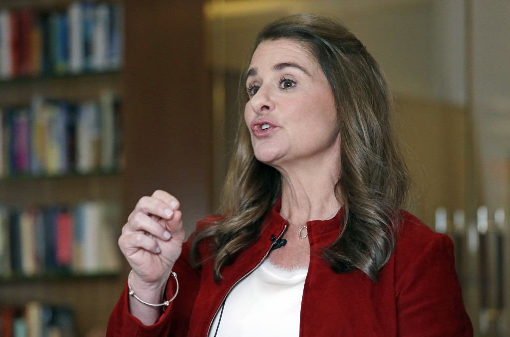 In this Feb. 1, 2019, Melinda Gates speaks while being interviewed in Kirkland, Wash. Bill and Melinda Gates are pushing back against a new wave of cr