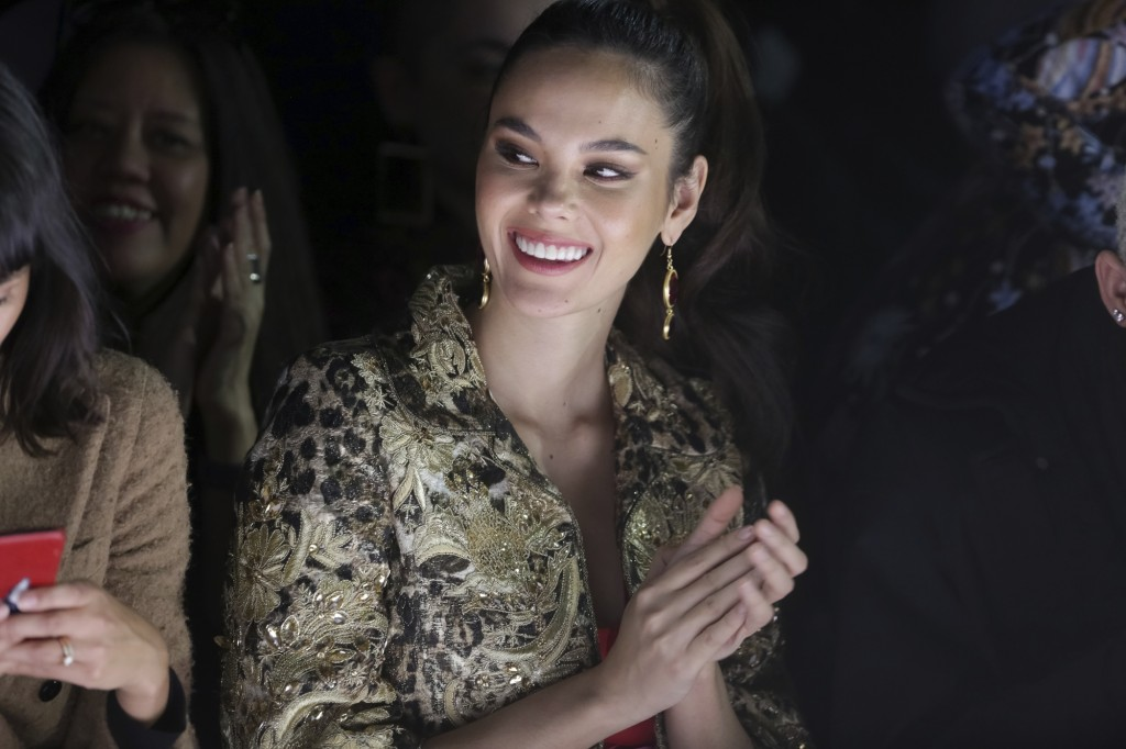 Miss Universe 2018 Catriona Gray attends the Naeem Khan Runway Show at Spring Studios during New York Fashion Week on Tuesday, Feb. 12, 2019 in New Yo...