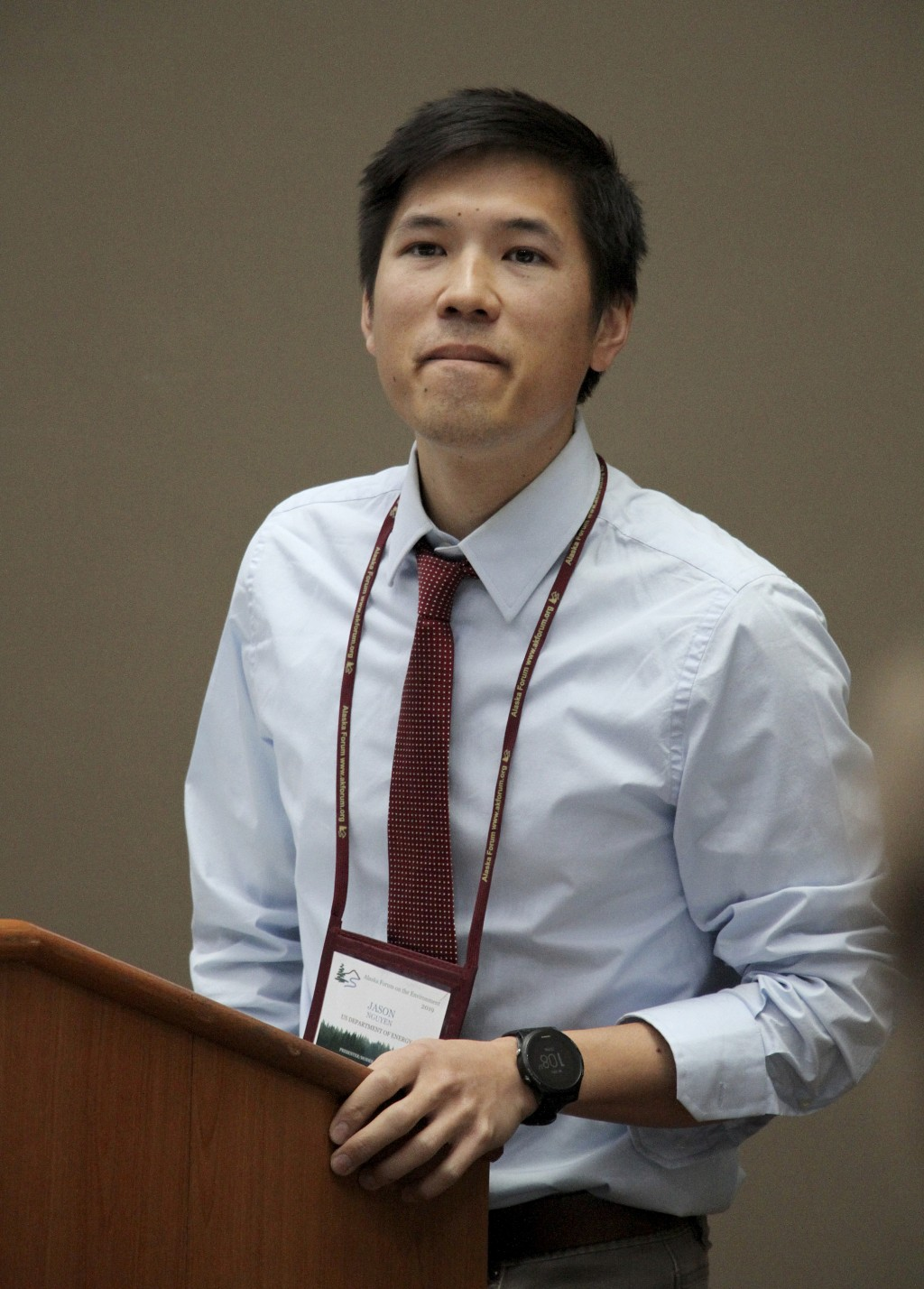 Jason Nguyen, with the Office of Legacy Management for the U.S. Department of Energy, addresses earthquake damage to some mud disposal sites and sampl...