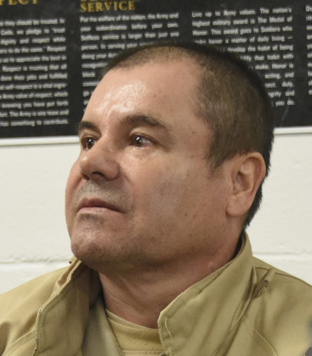 """In this Jan. 19, 2017 photo provided by the United States Drug Enforcement Administration, Mexican drug kingpin Joaquin """"El Chapo"""" Guzman, arrives at ..."""