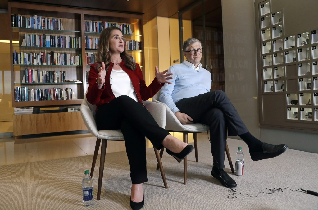 In this Feb. 1, 2019 photo, Bill and Melinda Gates are interviewed in Kirkland, Wash. The couple, whose foundation has the largest endowment in the wo...