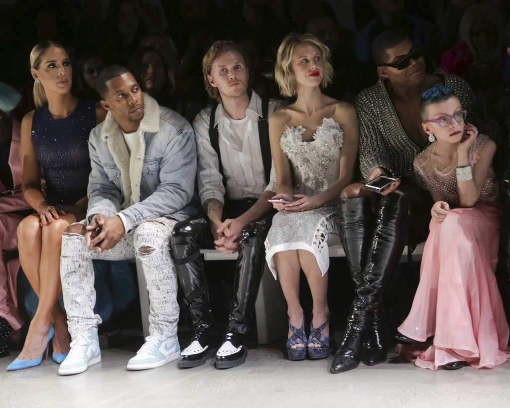 Carmen Carrera, from left, Victor Cruz, Barron Hilton II, Tessa Hilton, EJ Johnson and Desmond Is Amazing attend The Blonds Runway Show held at Spring