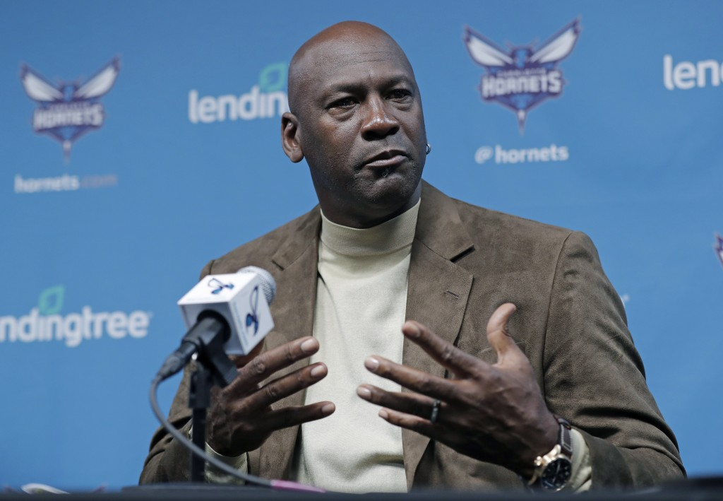 Charlotte Hornets owner Michael Jordan speaks to the media about hosting the NBA All-Star basketball game during a news conference in Charlotte, N.C.,