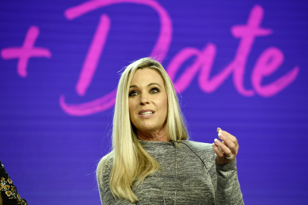"""Kate Gosselin, a cast member in the TLC series """"Kate Plus Date,"""" takes part in a panel discussion on the show during the 2019 Winter Television Critic"""