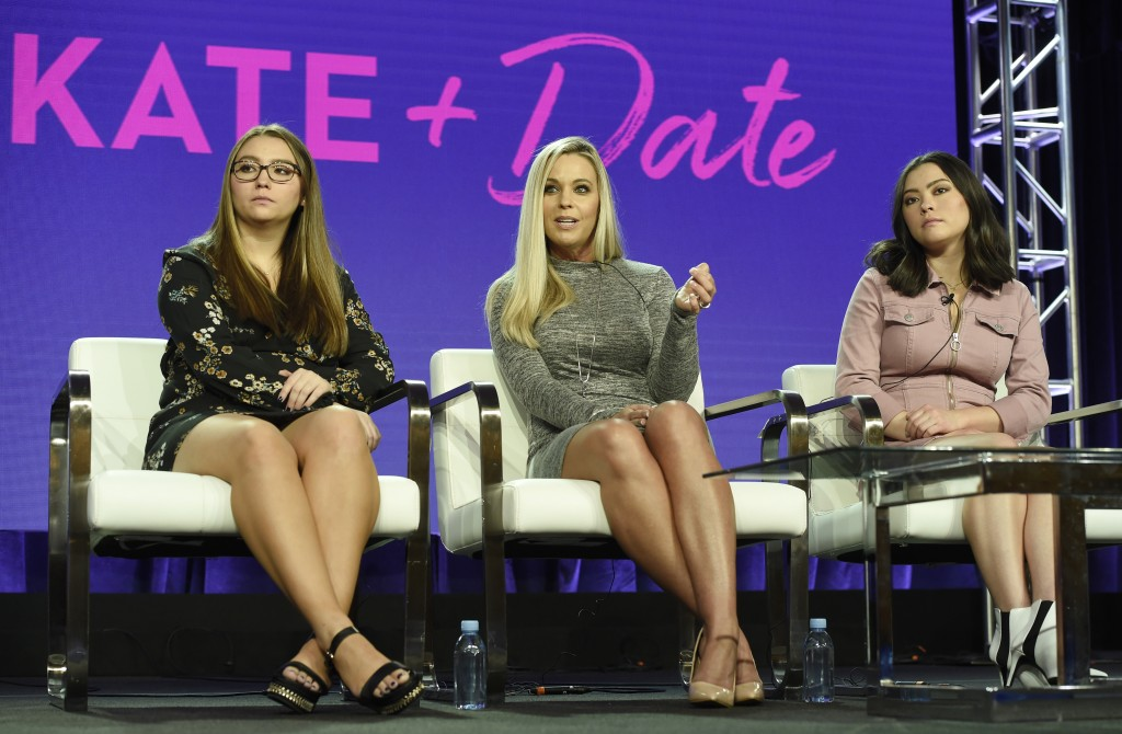 "Kate Gosselin, center, and her daughters Cara, left, and Mady, cast members in the TLC series ""Kate Plus Date,"" take part in a panel discussion on the..."