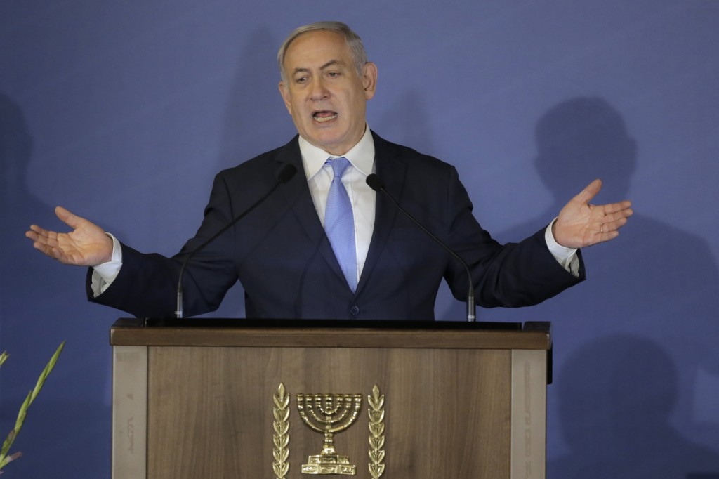 FILE - In this Feb. 21, 2018 file photo, Israeli Prime Minister Benjamin Netanyahu speaks during the Conference of Presidents of Major American Jewish