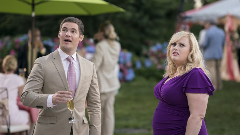 "This image released by Warner Bros. Pictures shows Adam Devine, left, and Rebel Wilson in a scene from ""Isn't It Romantic."" (Michael Parmelee/Warner B..."