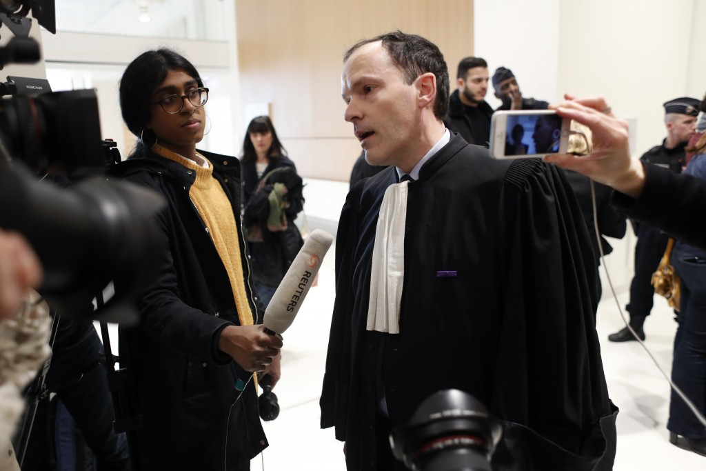 Plaintiffs' lawyer Jean-Philippe Morel answers media at the Paris' courthouse, ahead of the opening hearing of Christophe Dettinger's trial, in Paris,