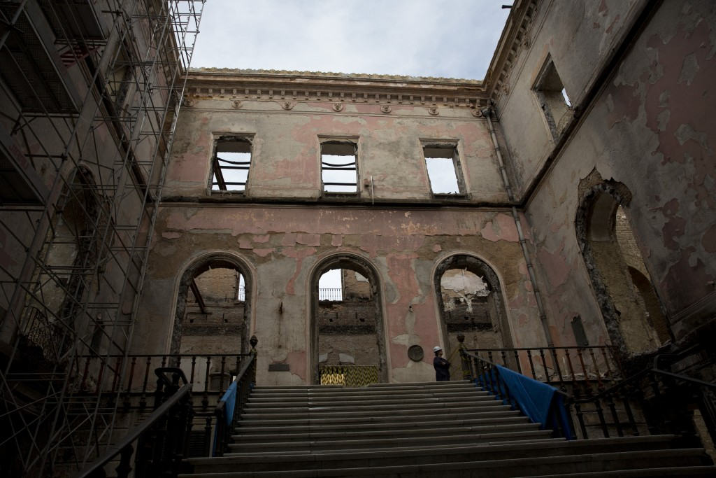 Brazil's National Museum stands, gutted by fire, in Rio de Janeiro, Brazil, Tuesday, Feb. 12, 2019. Five months after a devastating fire engulfed Braz