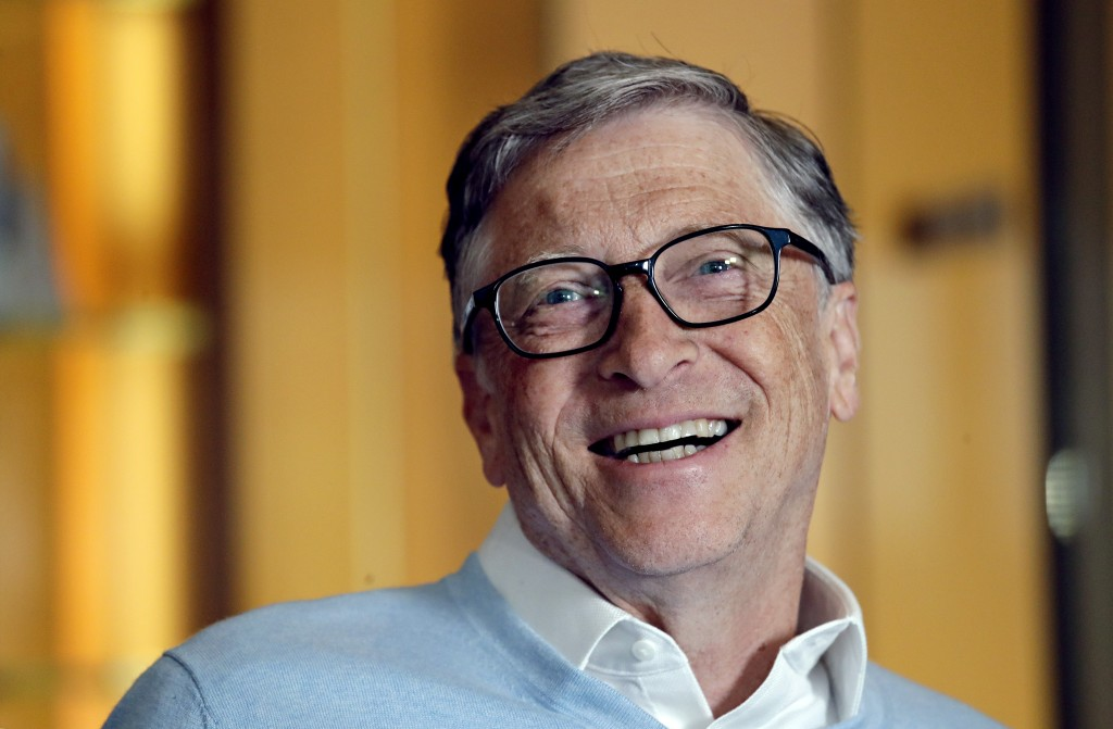 In this Feb. 1, 2019, Bill Gates smiles while being interviewed in Kirkland, Wash. Bill and Melinda Gates are pushing back against a new wave of criti...