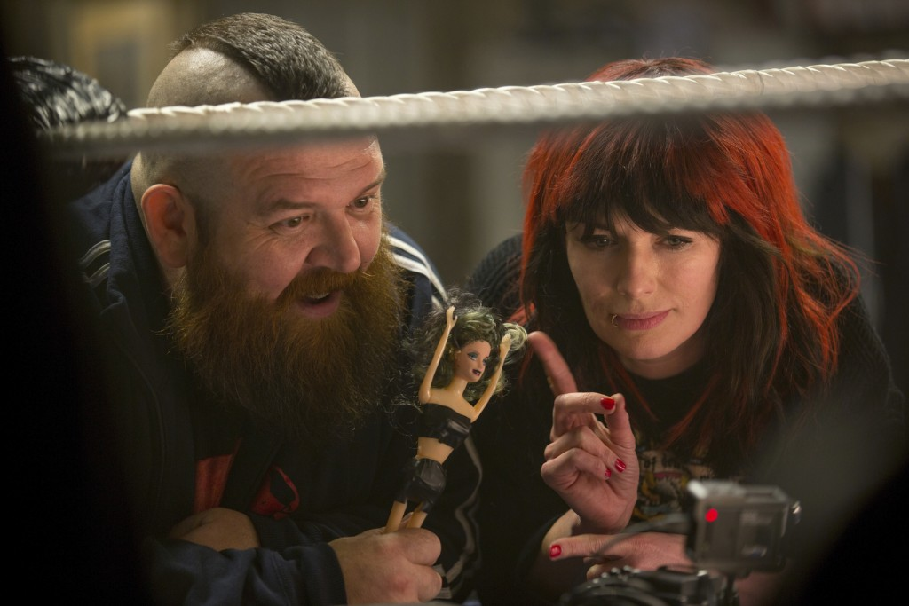 "This image released by Metro Goldwyn Mayer Pictures shows Nick Frost, left, and Lena Headey in a scene from ""Fighting with My Family."" (Robert Viglask..."