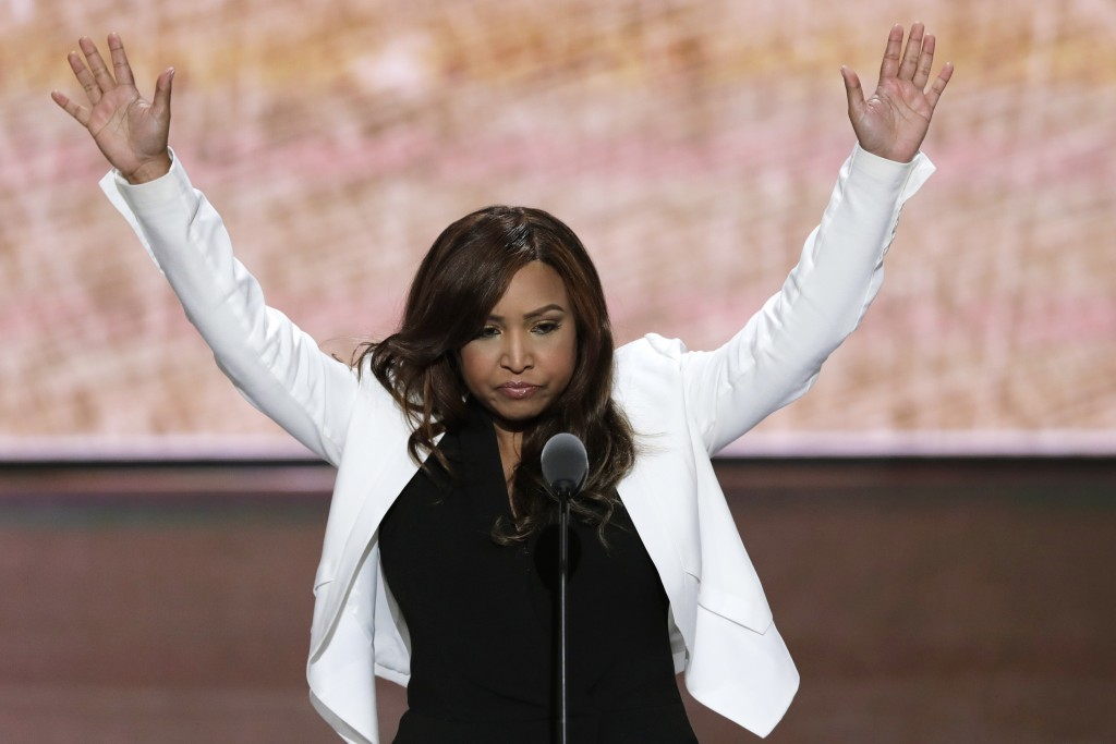 FILE - In this July 20, 2016 file photo, Lynne Patton of the Eric Trump Foundation waves during her speech at the Republican National Convention in Cl