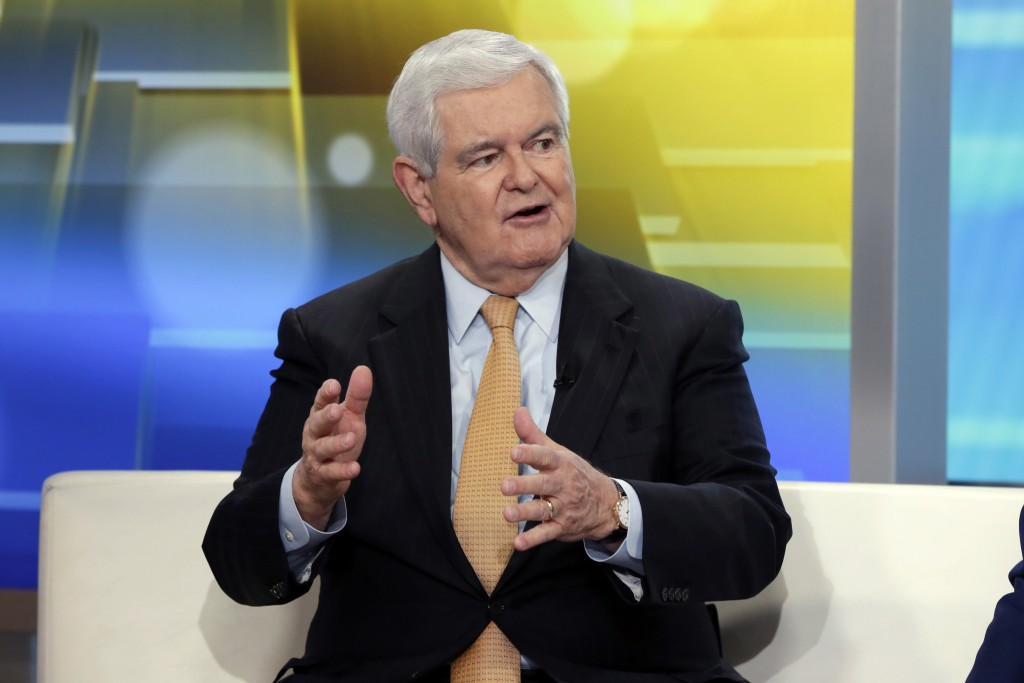 "FILE - In this May 24, 2018, file photo, former Speaker of the House Newt Gingrich is interviewed on the ""Fox & Friends"" television program, in New Yo"