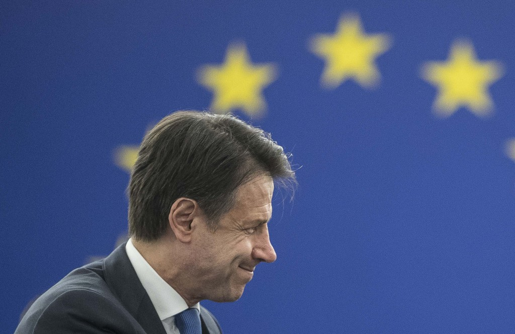 Italian Prime Minister Giuseppe Conte attend a debate on the future Europe at the European Parliament in Strasbourg, eastern France, Tuesday Feb. 12,
