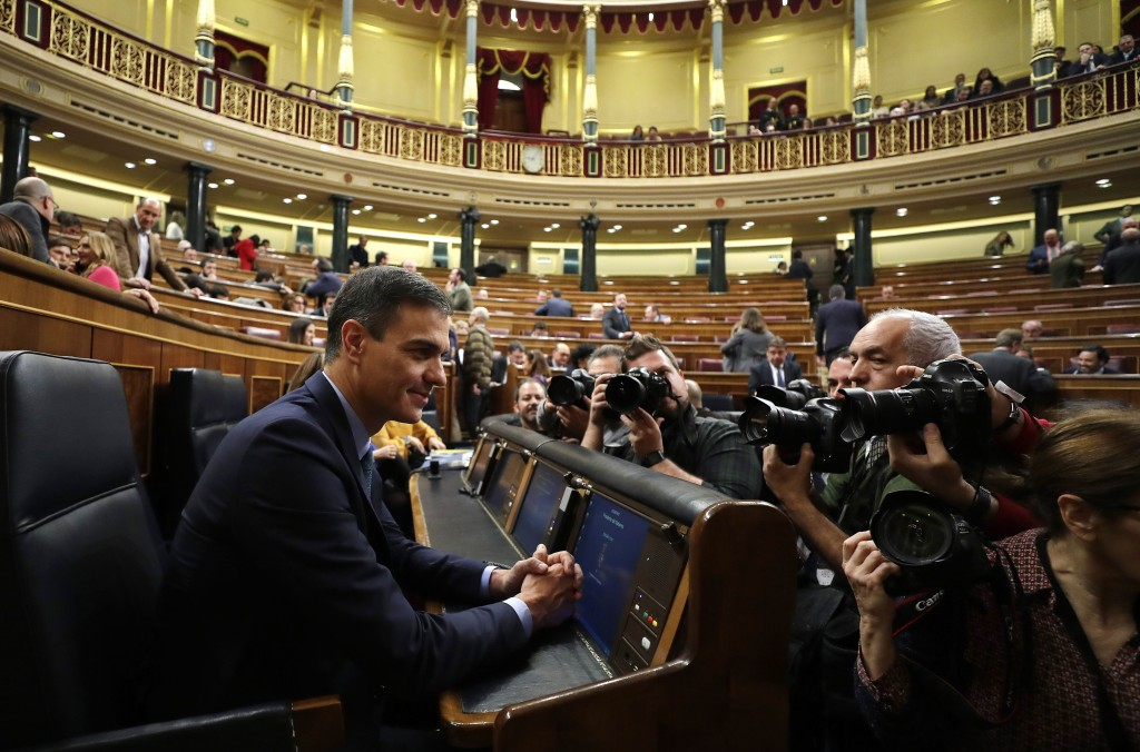 Spain's Prime Minister Pedro Sanchez is photographed at the Spanish parliament in Madrid, Wednesday, Feb. 13, 2019. Spain's minority socialist governm...