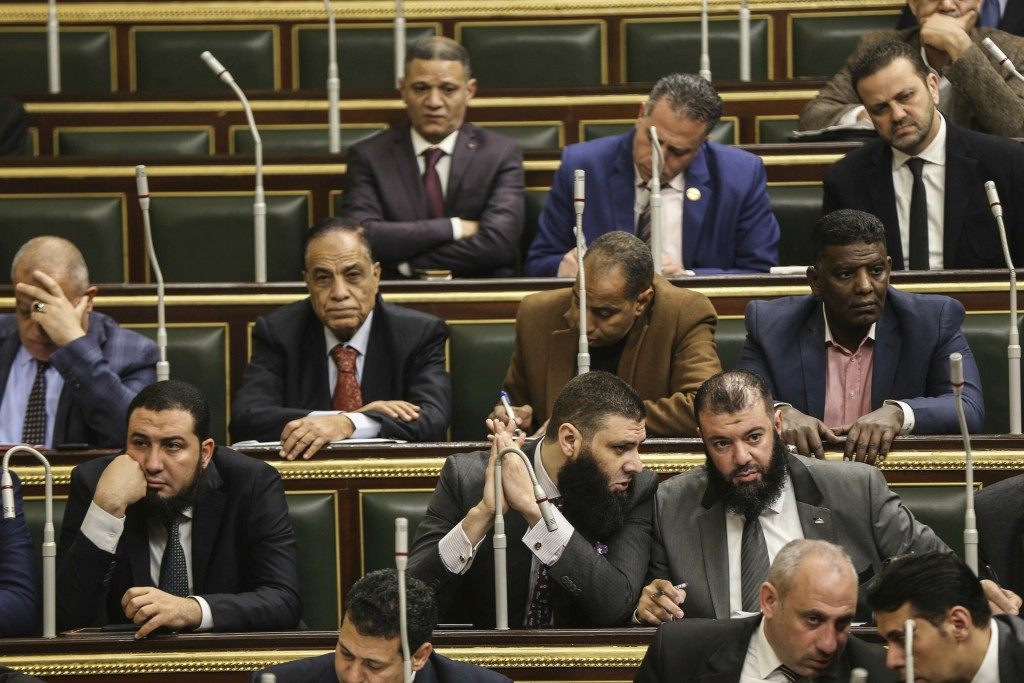 Members of Egypt's Parliament meet to deliberate constitutional amendments that could allow President Abdel-Fattah el-Sissi to stay in office till 203...